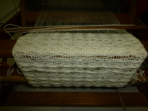 Waffle Weave in cream coloured Wool on a 4 Shaft Loom